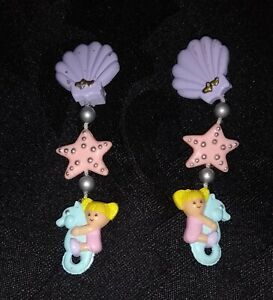 😍Polly Pocket Ohrclips Mini Seashell Earrings 90iger Jahre