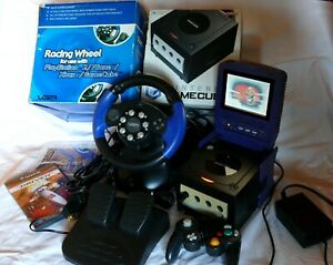 BOXED Nintendo GameCube Console, Racing Steering Wheel, LCD Screen + Game