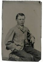 Tintype Photograph Teen Boy Seated on Chair, Well Dressed Combed Hair
