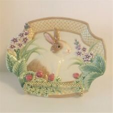 Fitz and Floyd Oval Bunny and Spring Flowers Theme Plate