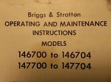 Briggs Stratton 146700 to 147704 Vertical Gasoline 6 h.p Engine Owner Manual 6pg