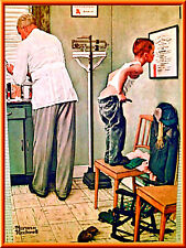 "Norman Rockwell ""Before The Shot"" Doctor Office Picture Litho Print Size 14""x11"""