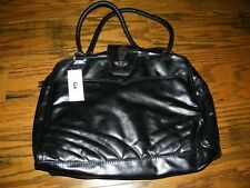 Ladies Travel Bag Laptop Bag Kate Style Black Pleather with Multiple pockets