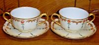 Pair Hand Painted Hutschenreuther Selb Bavaria Porcelain Cream Cup & Saucer Sets