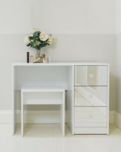 White Mirrored Three Drawer Dressing Table with Stool Bedroom