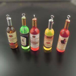 20PCS Acrylic Mix Color Wine Bottles Shaped Pendants Necklace Charms DIY Crafts