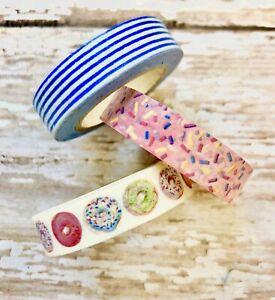Washi Tape Donuts Cookies Sprinkles Stripes 4 pk 10 yards each