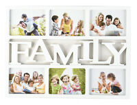 White FAMILY 6 Multi Picture Aperture Photo Frame Holds 6'x 4' Photos - CL-9627