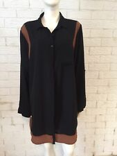 Missy Q Ladies Shirt Dress Black Chocolate Sheer Size 16