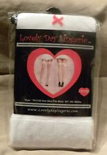 Lovely Day Lingerie 2 Pair Costume Thigh Highs One Size White Hearts (A10)