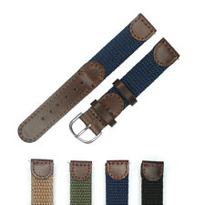 16mm 18mm 20mm 22mm Watchband Brown Leather Nylon Genuine Leather Watch Strap