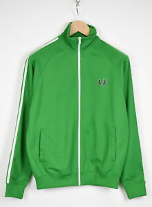 FRED PERRY J5327 Men's SMALL Bright Green Zip Tracksuit Jumper 36322-GS