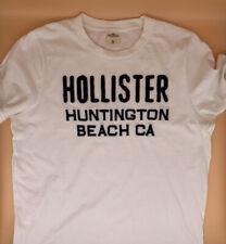 Hollister California Men's T-Shirt Size XL White Blue Embroidered Logo/Writing
