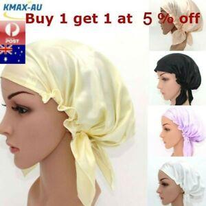 Pure Silk Womens Sleep Cap Hat Wrap Hot Hair Care Elastic Sleeping Bonnet Night