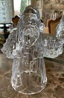 DePlomb Christmas Holiday Santa lead crystal candle holder