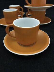 Set of 6 Vintage Gempo Fine China Tea/coffee Cup and Saucers. Burnt Orange.