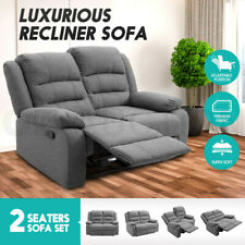 Luxury Soft Fabric Recliner Chair Sofa Lounge Armchair Grey Loveseat 2 Seater