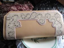 Splendido VINTAGE RARE Sara WHYTE of London Leather Lizard Design Trim CLUTCH BAG