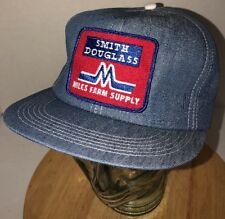 VTG MILES FARM SUPPLY Smith Douglass 80s USA K-Products Denim Hat Cap Snapback