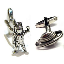 Silver Astronaut and Planet Cufflinks Pair Space Stars Planets Cuff Links New