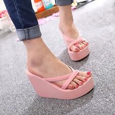 Womens Flip Flops High Heel Slippers Summer Platform Wedge Sandals Beach Street