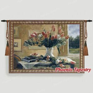 "Beautiful Tulip Fine Art Tapestry Wall Hanging Jacquard Weave 100%Cotton 54""x37"""