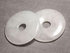 Pendentif Pierre semi précieuse - Cristal de Roche Quartz Grand Donut Pi 60mm -