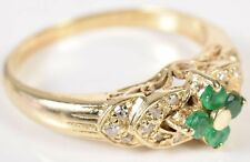 Genuine Emerald Cluster & Stepped Sides Diamond 14K Gold Ring Size 7-1/4