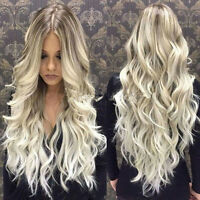 European 100% Remy Human Hair Wig Long Ombre Blonde Full Lace Wig Lace Front Wig