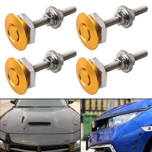 4pcs Gold Universal Push Button Quick Release Bumper Hood Pin Bonnet Lock Latch