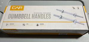 "2 CAP Standard 1"" fit 14"" Adjustable Chrome Barbell Dumbell Handles/collars NEW"