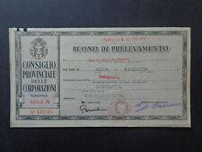 BANCONOTA BUONO DI PRELEVAMENTO CASTELLETTO STURA  14 6 1943 XXI NUM SUBALPINA