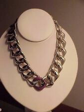 Victoria Casal Silver Link Necklace Pink Sapphire New/Tag $2250