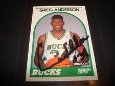 1989 NBA HOOPS #343 GREG ANDERSON BUCKS Houston SIGNED AUTHENTIC AUTOGRAPH