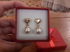 Brand new gold heart earrings with dangling pearls and gift box