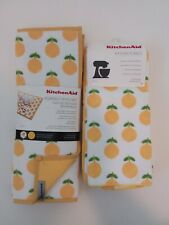 Kitchen Aid Reversible Drying Mat & Matching Kitchen Towel Set - Lemons(NEW)