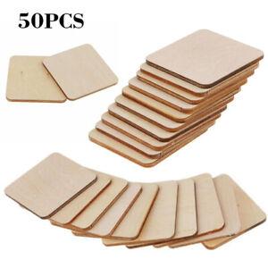50pcs Wooden Square Shape Coaster Blank Coasters Unfinished Wood Craft Blank