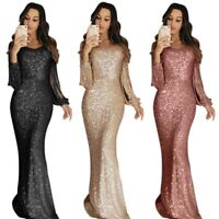 V Sequin Party Women Long Sexy Neck  Evening Maxi Cocktail Dress Bodycon Sleeve