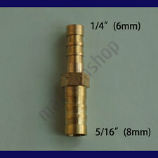 1/4 to 5/16 (6mm X 8mm) Union Hose Barb Brass Fitting Splicer Gas Fuel Reducer