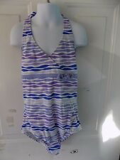LANDS' END KIDS ONE PIECE HALTER SWIMSUIT STRIPED SIZE 12 GIRL'S  EUC