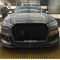 Black A3 Front Mesh Grille Grill for Audi A3 8V 2016-2019 To RS3 Style