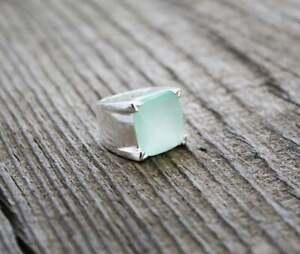 7Ct Aqua Chalcedony Handmade Sterling Silver Gemstone March Birthstone Mens Ring