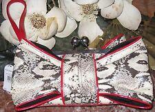 Jessica Simpson JENNY Box Red/Python Print Faux Leather Kiss Lock Clutch - $58