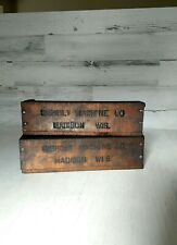 Vtg INDUSTRIAL GISHOLT MACHINE Wood Parts Supply Box Madison Wis. Set of TWO #4