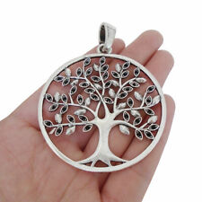 5 Antique Silver Large Tree Round Charms Pendants for Necklace Jewellery Making