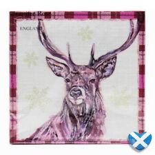Winter Stag Paper Napkins x 20 - Scottish NORDIC Snowflake Party Tartan BNIP UK