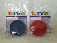 Set of 2 New Tervis Tumbler 10 Oz Lid Red & Blue
