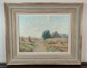 Antique Continental Oil Painting Hay Stacks Farmers Landscape Impressionist