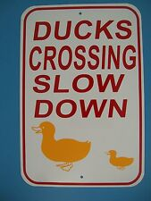 DUCK CROSSING Sign Slow Down 12X18 Aluminum Street Sign,Made in the USA