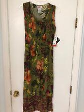 New NWT R&K Originals Petite Olive Floral Sundress Sleeveless Flowers 8P